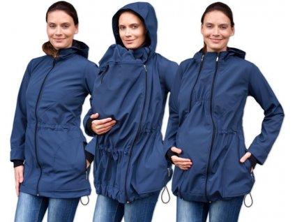 pavla 2 softshellova tehotenska a nosici bundy pro predni noseni tm modra