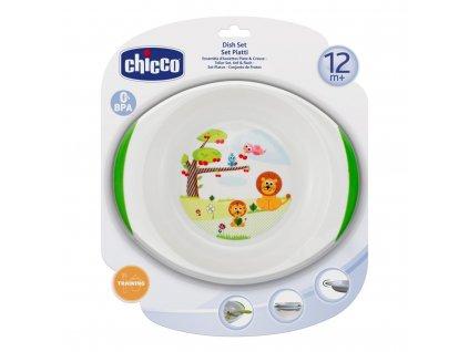 Chicco Jedálenský set tanier a miska, 12m+