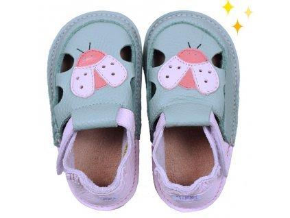 Tikki sandálky - Green ladybug