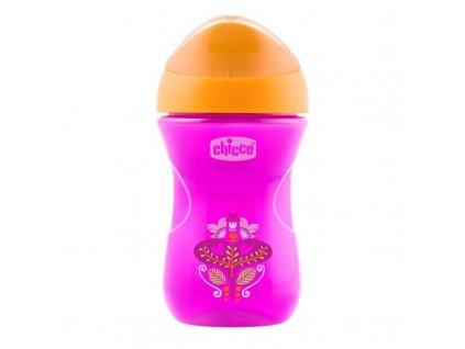 Chicco Hrnček Chicco Jednoduchý s tvrdým náustkom 266 ml, ružovo-oranžový 12m+ 06961.10PO