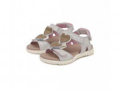 D.D.STEP kožené sandálky white s vyberateľnými srdiečkami
