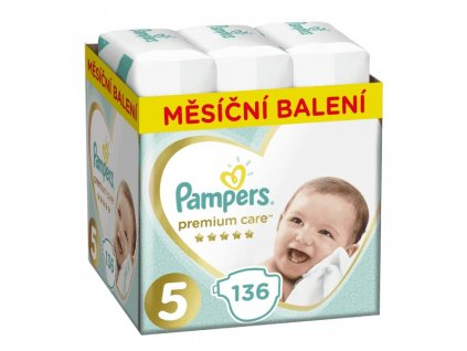 Pampers Mesačná zásoba plienok Premium Care 5 JUNIOR 11-16kg 136ks Pampers 959690