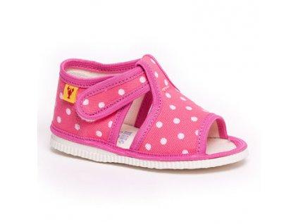 detska obuv papuce ruzova bodka rak