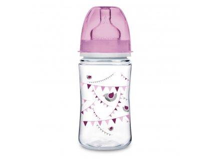 Canpol babies dojčenská antikoliková fľaša široká EasyStart 240 ml 3m+ Let´s Celebrate ružová