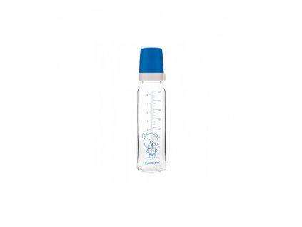 Dojčenská fľaša sklo 240ml - silikón okrúhly Modrá