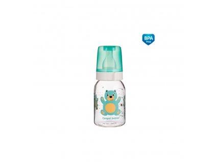 Dojčenská fľaša plast Veselé zvieratká 120ml 3m+ Macko