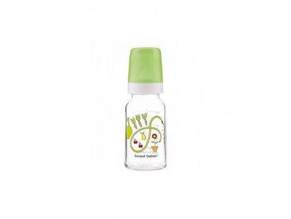 Dojčenská fľaša sklo dekor 120ml - silikón okrúhly Zelená