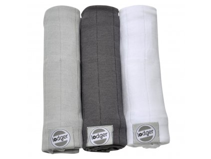 LODGER Swaddler Solid 3ks 70 x 70 cm MistCarbonWhite