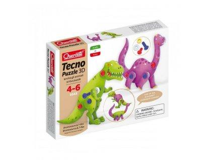 Quercetti Tecno puzzle 3D brontosaurus a T Rex