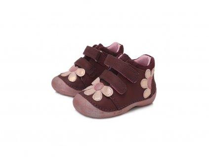 D.D.STEP kožené topánky Raspberry - kvetinka