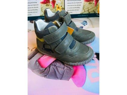 D.D.Step Kožené prechodné topánky - grey šiltovka