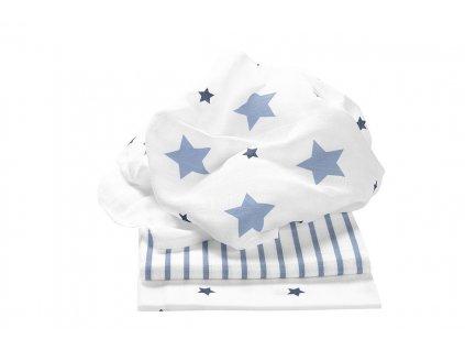 ODENWÄLDER Plienky 3ks Stars and Stripes Ice Blue 80x80 cm