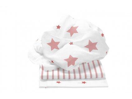 ODENWÄLDER Plienky 3ks Stars and Stripes Light Coral 80x80 cm