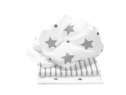 ODENWÄLDER Plienky 3ks Stars and Stripes Light Silver 80x80 cm