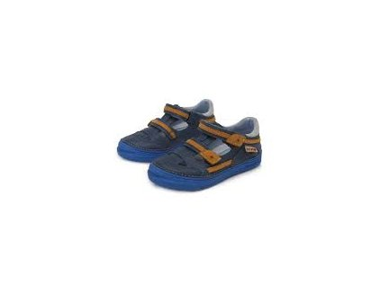 D.D.STEP kožené sandálky 040 - bermuda blue / orange