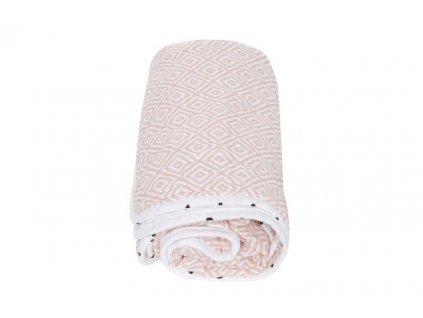 Motherhood Deka bavlnená mušelínová dvojvrstvová Pre-Washed Pink Squares 95x110cm AGS_056155