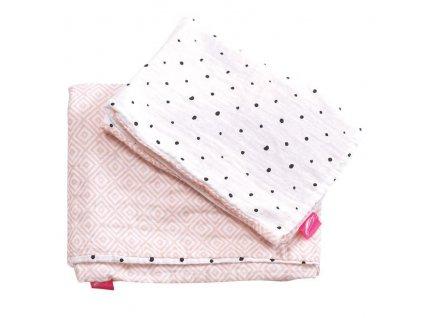 Motherhood Obliečky bavlnené mušelínové do postieľky Pre-Washed Pink Squares 2-dielne AGS_098155