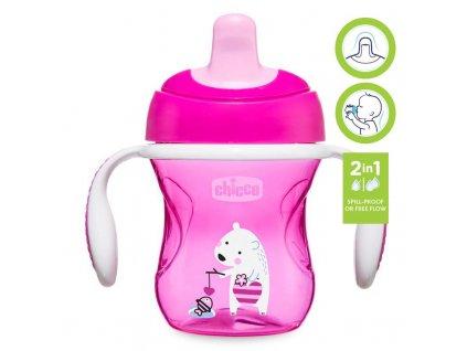 Chicco Hrnček Chicco Trénujeme s držadlami 200 ml, ružový 6m+ AGS_06921.100P