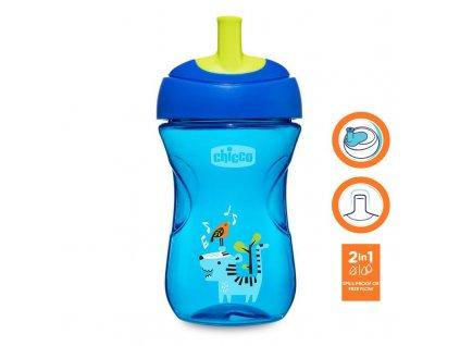 Chicco Hrnček Chicco Pokročilý so slamkovým náustkom 266 ml, modrý 12m+ AGS_06941.200B