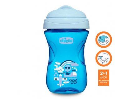 Chicco Hrnček Chicco Jednoduchý s tvrdým náustkom 266 ml, modrý 12m+ AGS_06961.200B