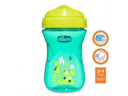 Chicco Hrnček Chicco Jednoduchý s tvrdým náustkom 266 ml, zelený 12m+ AGS_06961.200G