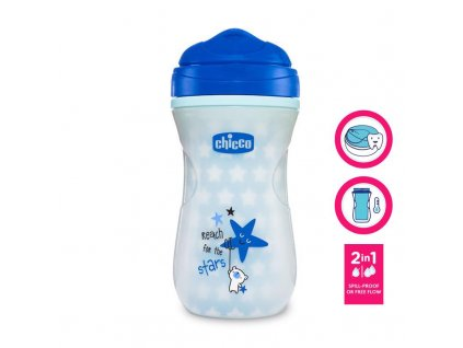 Chicco Hrnček Chicco Shiny termo floureskujúci s tvrdým náustkom 200 ml, modrý 12m+ AGS_06971.200