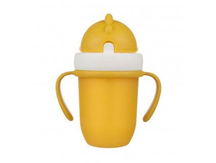 canpol babies hrncek so silikonovou slamkou 210 ml 9m flip top matna zlta