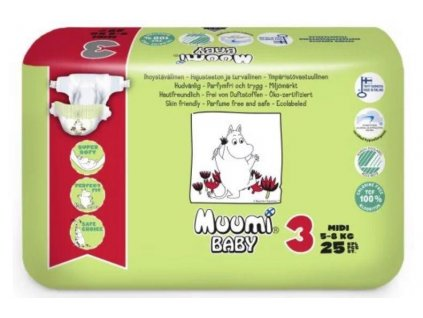 Muumi Plienky jednorázové 3 Midi 5-8kg 25ks Baby Muumi AGS_58775