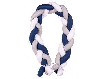 Babymatex Mantinel do postieľky Vrkoč 200cm biela-sivá-modrá AGS_TB0357-03