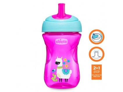 Chicco Hrnček Chicco Pokročilý so slamkovým náustkom 266 ml, ružový 12m+ AGS_06941.100P