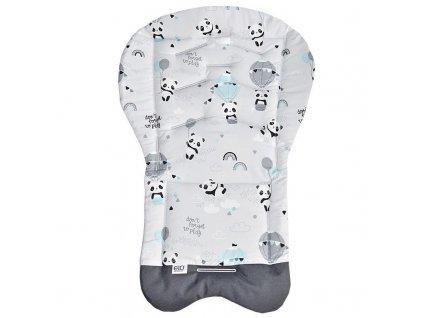 Eko Vložka do kočíka bavlnená Panda Grey 70x48cm AGS_PD-03-PANDA-GREY