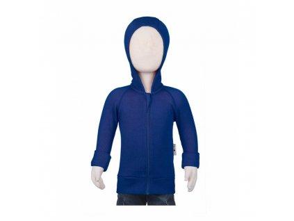 Manymonths kabátik na zips s kapucňou mer18 Royal Jewel Blue