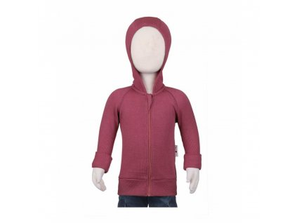 Manymonths kabátik na zips s kapucňou mer18 Frosted Berry