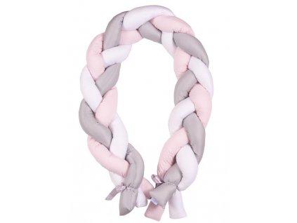 Babymatex Mantinel do postieľky Vrkoč 200cm biela-sivá-ružová AGS_TB0357-02