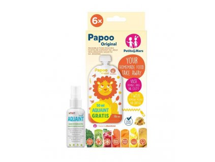 Petite&Mars Kapsička na jedlo Papoo Original Lion 6 ks+50ml Aquaint AGS_910007