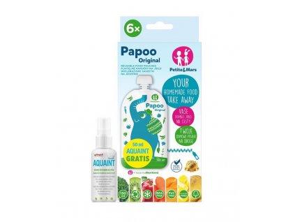 Petite&Mars Kapsička na jedlo Papoo Original Elephant 6 ks+50ml Aquaint AGS_910014