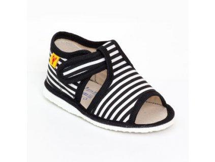 detska obuv papuce cierny pasik 540.