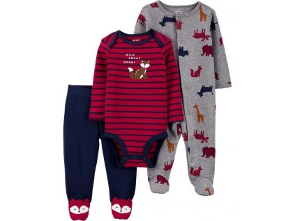 CARTERS Set 3-dielny overal, body, polodupačky Red chlapec NB