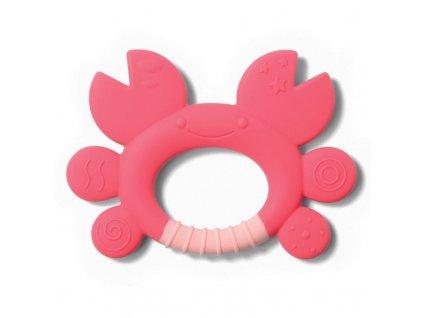 BABYONO Hryzačka silikónová krab Don 6m+ ružová