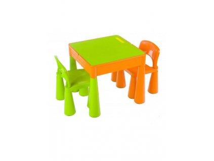 Detská sada stolček a dve stoličky oranžová