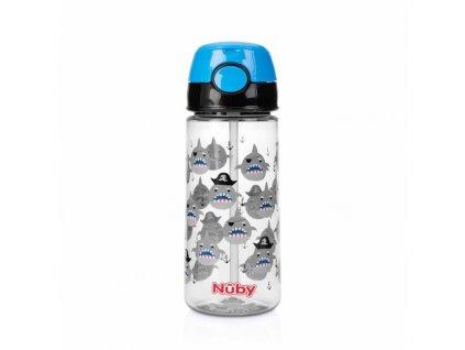 NUBY NUBY Fľaša športová netečúca so slamkou 530 ml, čierna, 3+