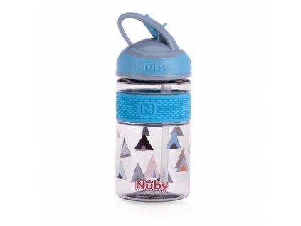 NUBY NUBY Fľaša športová 2v1 s tvrdou sklopiteľnou slamkou, 360 ml, modrá, 3+