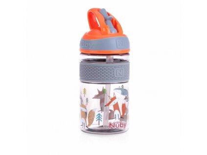 NUBY NUBY Fľaša športová 2v1 s tvrdou sklopiteľnou slamkou, 360 ml, oranžová, 3+