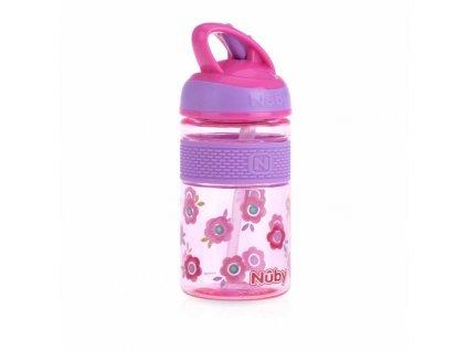 NUBY NUBY Fľaša športová 2v1 s tvrdou sklopiteľnou slamkou, 360 ml, ružová, 3+