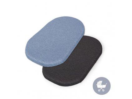 CEBA CEBA Plachta do kočíku 73-80 x 30-37 cm 2 ks Dark Grey+Blue
