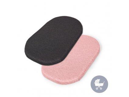 CEBA CEBA Plachta do kočíku 73-80 x 30-37 cm 2 ks Dark Grey+Pink