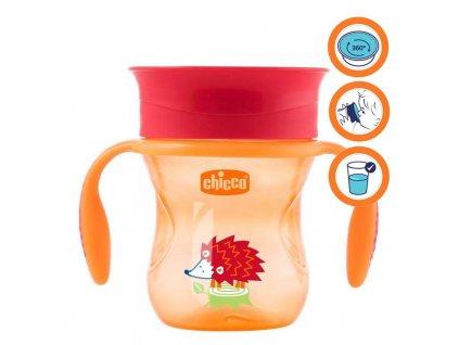 CHICCO Hrnček Chicco 360 s držadlami 200 ml, oranžový 12m+