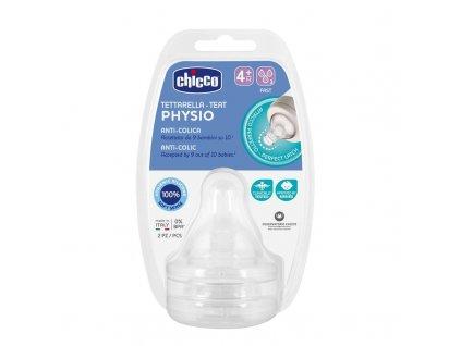 CHICCO CHICCO Cumlík na fľašu Perfect 5 fyziologický silikón, rýchly prietok 4 m+, 2 ks