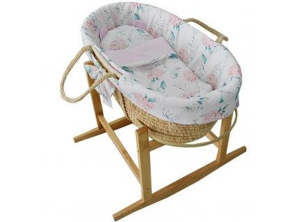 EKO EKO Kôš Mojžišov pre bábätko Natural so stojanom matrac + príslušenstvo Hydrangea