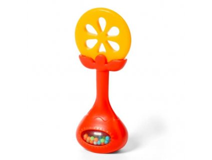 BABYONO BABYONO Hryzačka edukačná s hrkálkou - pomaranč